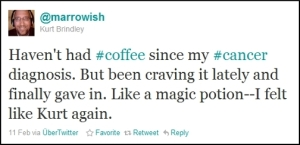 The tweet I sent when I decided to start drinking coffee again.