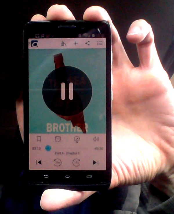 Yours truly rockin' the audiobook THE SEA IS MY BROTHER, a novel by Jack Kerouac on his favoritist newest app Overdrive